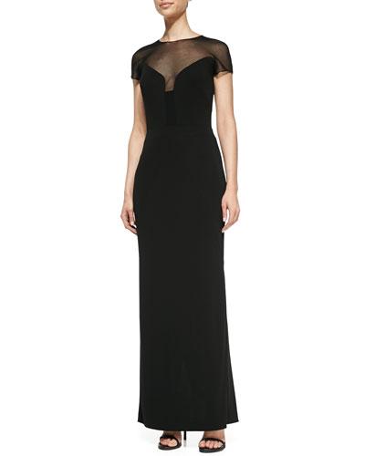 Nicole Miller Short-Sleeve Illusion Gown, Black