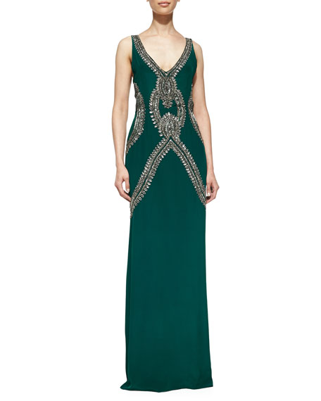 Sleeveless Beaded Gown with Deep V Back