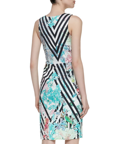Rhythm Of Soul Floral Sleeveless Sheath Dress