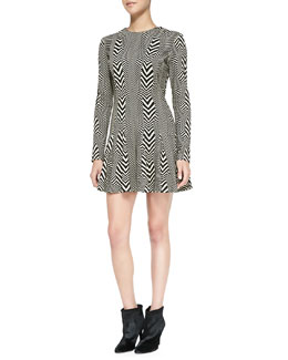 Nicole Miller Artelier Long-Sleeve Printed Fit & Flare Dress