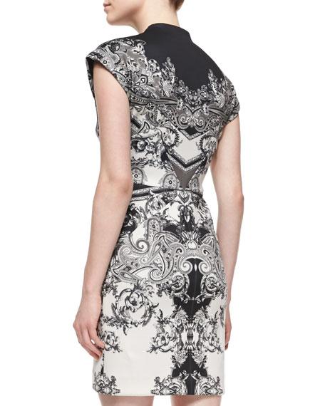 Short-Sleeve Paisley-Print Sheath Dress