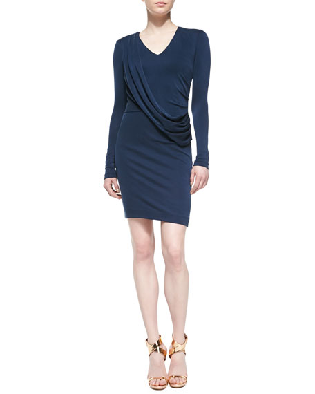 Long-Sleeve Diagonal Drape Sheath Dress