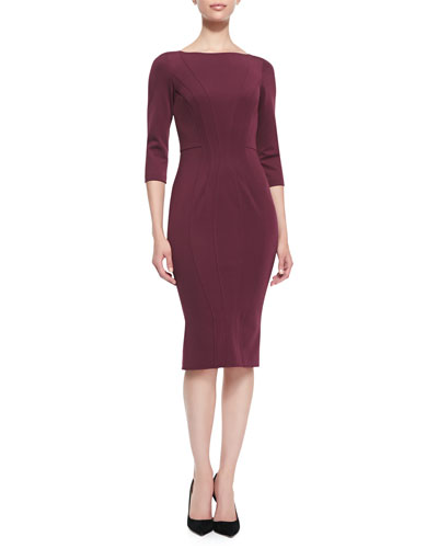 ZAC Zac Posen 3/4-Sleeve Bandage Jersey Dress