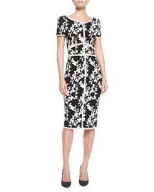 ZAC Zac Posen Short-Sleeve Seamed Floral Sheath Dress