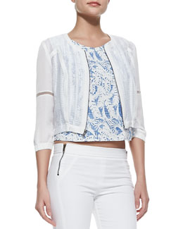 Waverly Grey Willow Sheer Zip Jacket