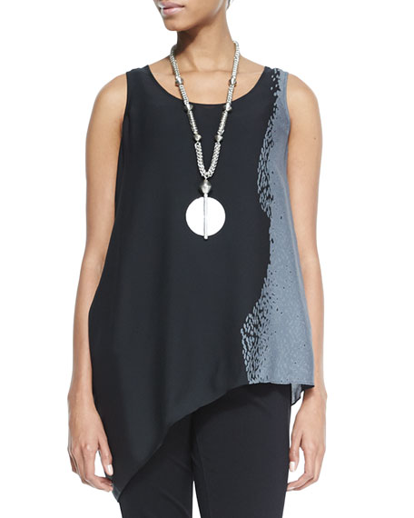 Eileen Fisher Printed Silk Asymmetric Draped Shell