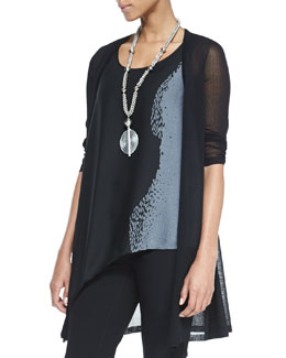 Eileen Fisher Gossamer Crepe Open Cardigan, Black