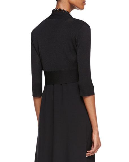 Half-Sleeve Crinkle Shrug, Black, Petite