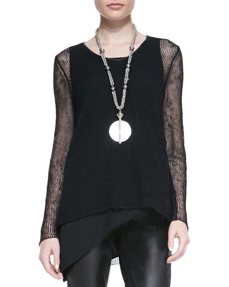 Airy Linen V-Neck Top, Women's, Black