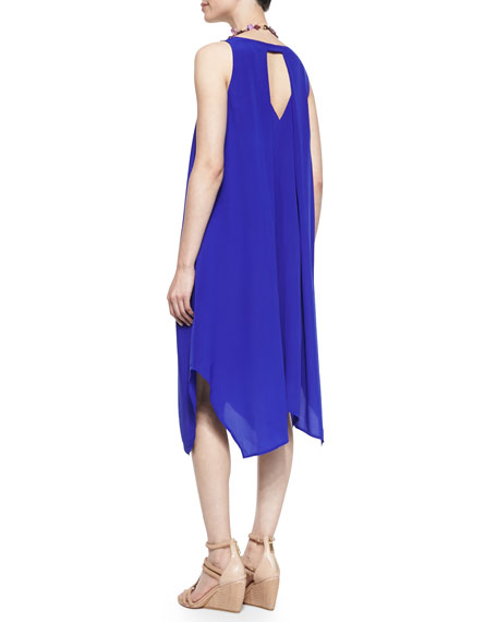 Silk Crepe de Chine Asymmetric Dress, Petite