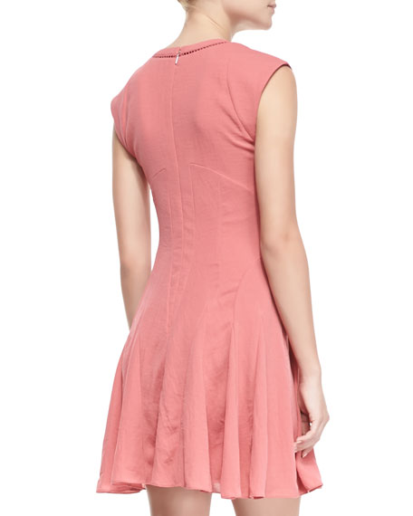 Crepe Short-Sleeve Godet Dress