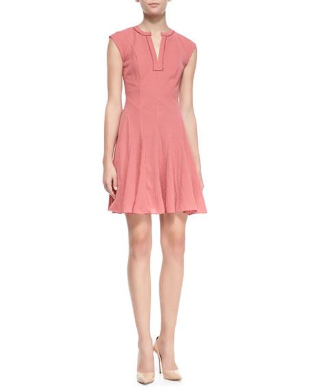 Crepe Short-Sleeve Godet Dress