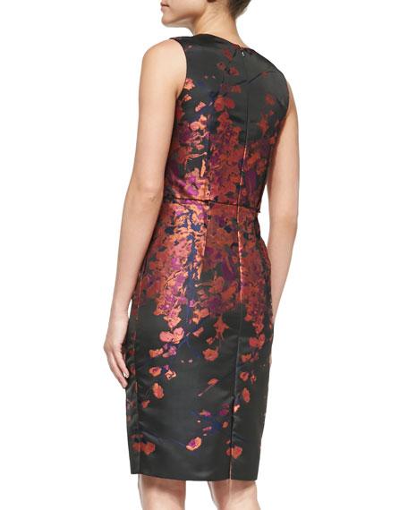 Sleeveless Floral-Print Cocktail Dress