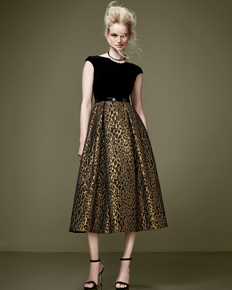 Cap-Sleeve Leopard-Print Cocktail Dress