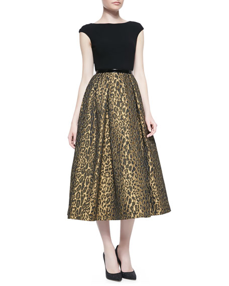 Theia Cap-Sleeve Leopard-Print Cocktail Dress