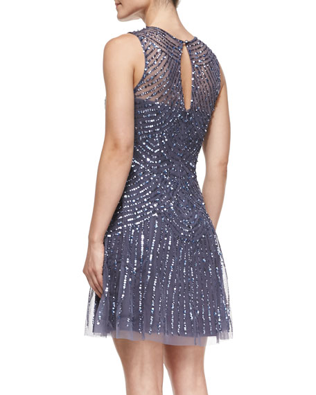 Sleeveless Beaded & Sequined Pattern Cocktail Dress
