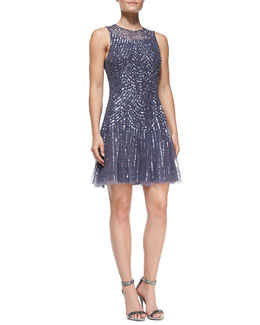 Aidan Mattox Sleeveless Beaded & Sequined Pattern Cocktail Dress
