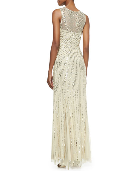 Sleeveless V-Neck Beaded & Sequined Gown