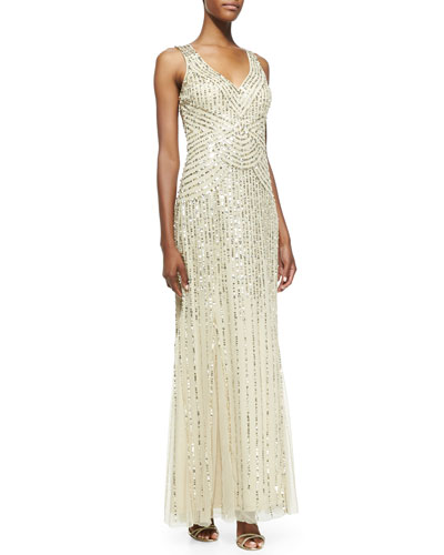 Aidan Mattox Sleeveless V-Neck Beaded & Sequined Gown