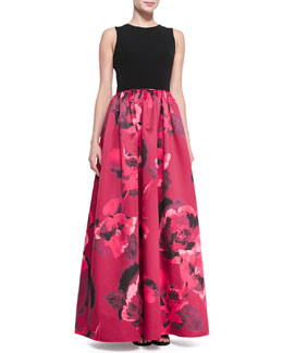 Aidan Mattox Sleeveless Floral-Skirt Combo Ball Gown