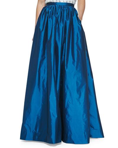 Aidan Mattox Pleated Taffeta Ball Skirt, Pacific
