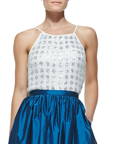 Aidan Mattox Beaded Silk Sleeveless Top