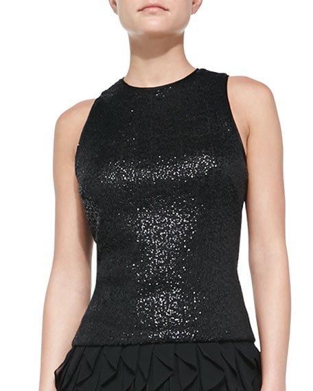Sequined Sleeveless Top, Black