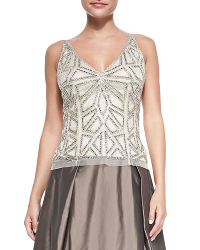 Aidan Mattox Beaded Spaghetti-Strap Top