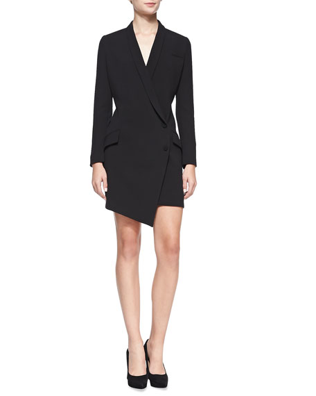 Cowl-Back Long-Sleeve Tuxedo Dress