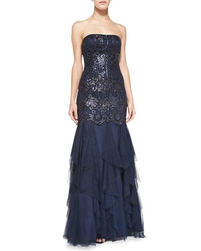 Aidan Mattox Sequined Gown w/ Ruffled Skirt