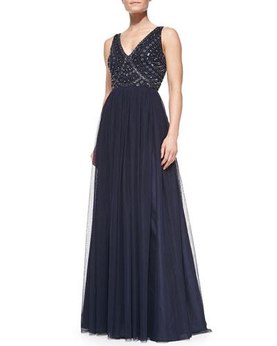 Aidan Mattox Sleeveless Beaded-Bodice Gown