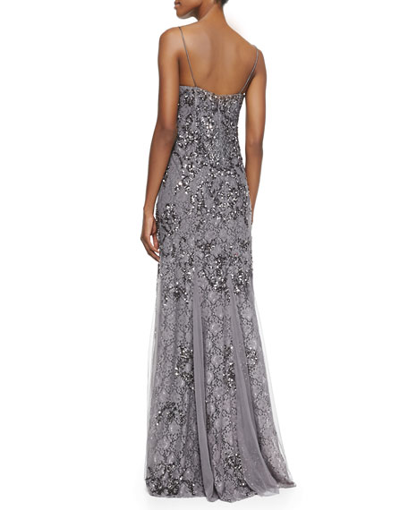 Beaded & Sequined Lace Spaghetti Strap Gown