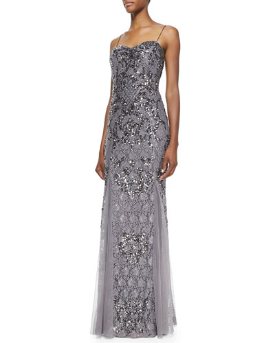 Aidan Mattox Beaded & Sequined Lace Spaghetti Strap Gown