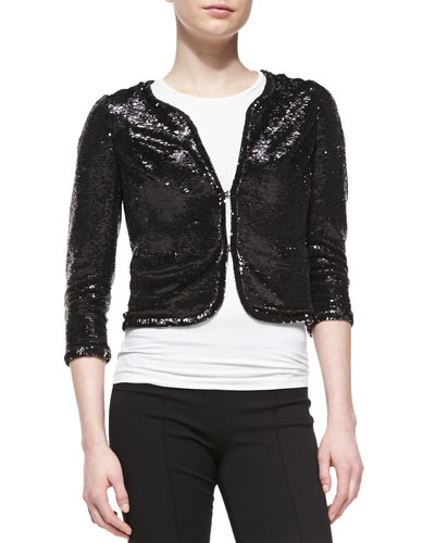 Aidan Mattox 3/4-Sleeve Sequined Bolero Jacket