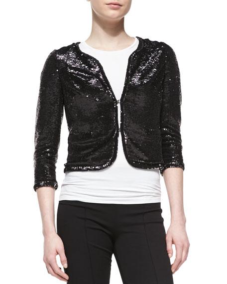 3/4-Sleeve Sequined Bolero Jacket