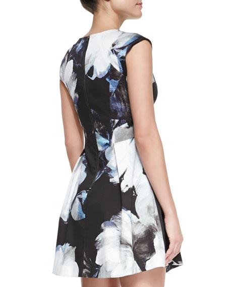 Floral-Print Cap-Sleeve Dress