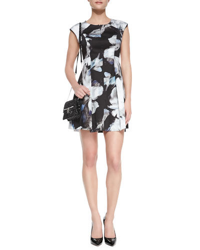 Milly Floral-Print Cap-Sleeve Dress