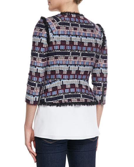Fringe-Trim Tweed Zip Jacket