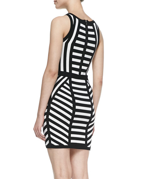 Mitered Stripe Sleeveless Sheath Dress