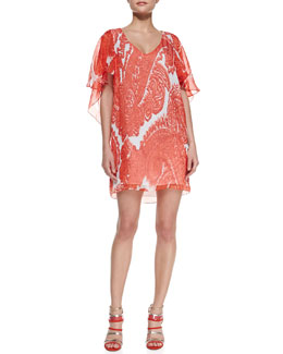 Milly Bella Watercolor Paisley Silk Dress