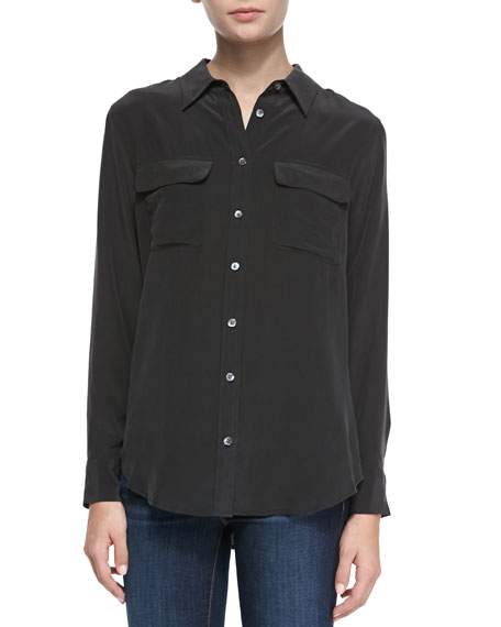 Slim Signature Silk Long-Sleeve Blouse, Black