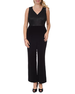 Kay Unger New York Women's Sleeveless V-Neck Jumpsuit, Women's
