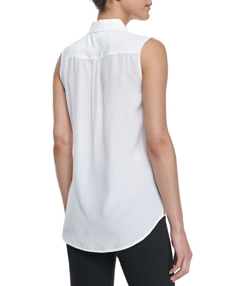 Slim Signature Sleeveless Blouse, Bright White