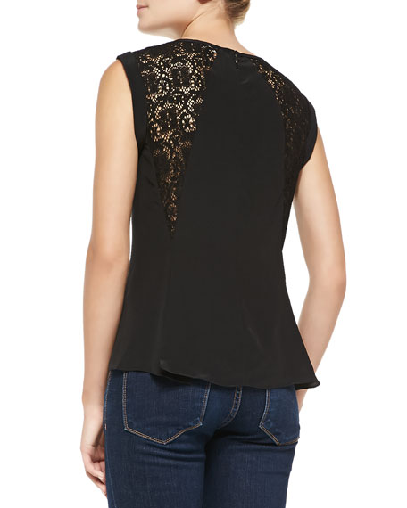 Silk Lace-Inset Short-Sleeve Top