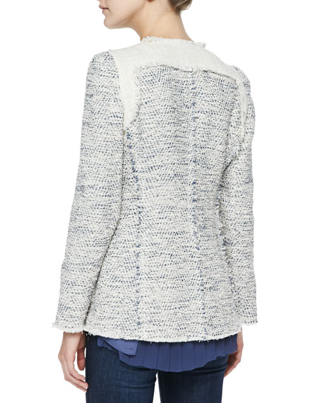 Colorblock Tweed Blazer, Navy Combo