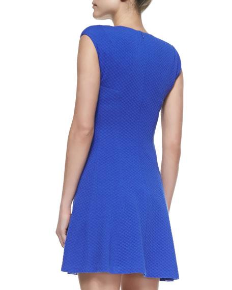 Cap-Sleeve Textured Ponte Dress