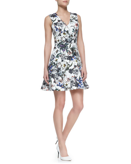 Floral-Print A-Line Sleeveless Dress