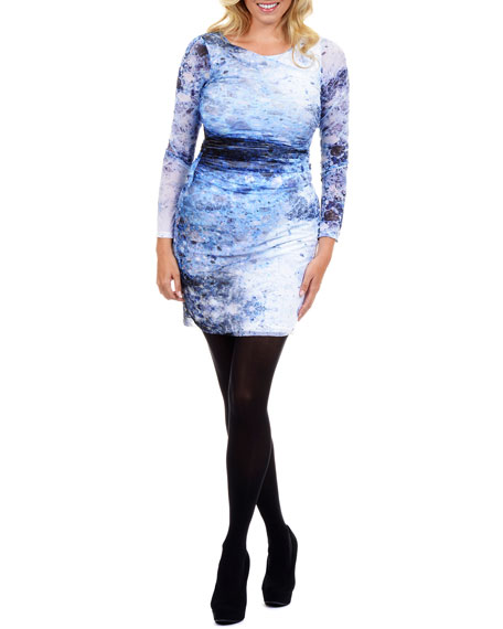 Long-Sleeve Printed Sheath Dress, Women's