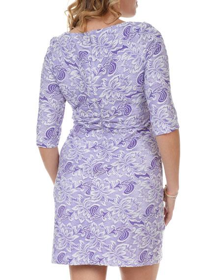 3/4-Sleeve Lace-Print Dress, Women's