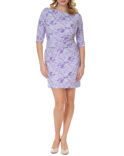 3/4-Sleeve Lace-Print Dress, Women